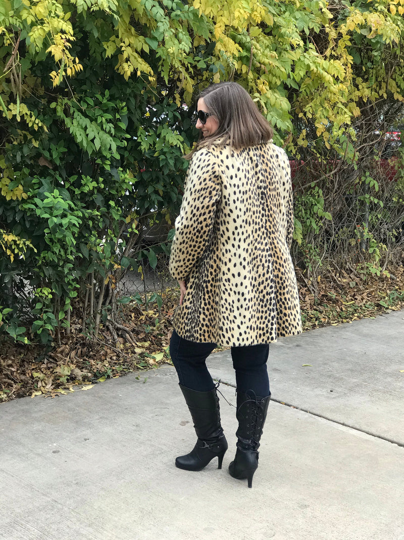Reserved: 1960s Faux Fur Cheetah Print Designer Coat