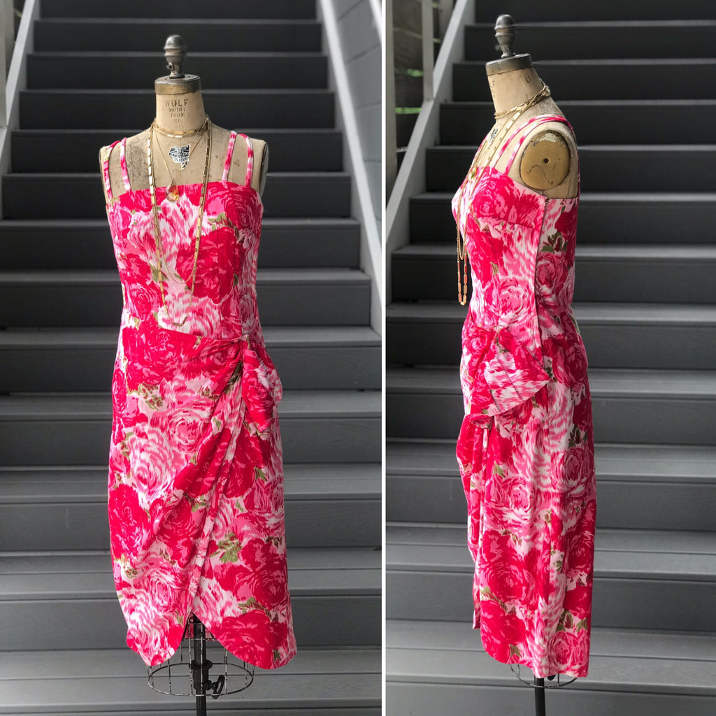 "1960s Homesewn ""Vogue"" Pattern Floral Dress"