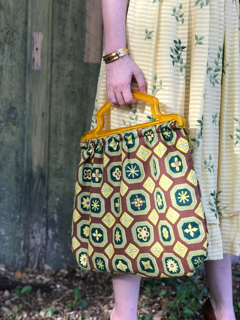 Yellow, Green, and Brown  Barkcloth Purse