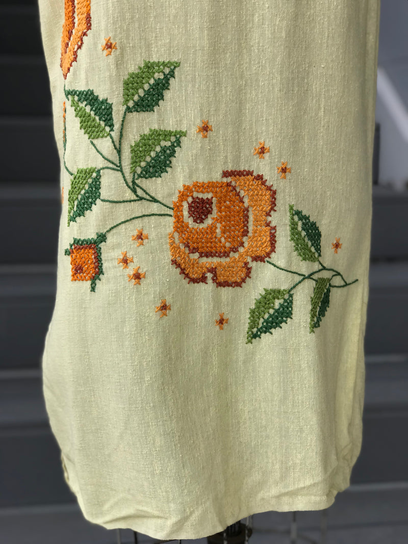 1960s Yellow Linen Floral Cross-Stitch Dress