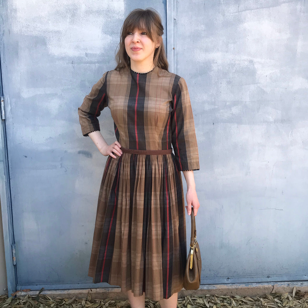 1950s Brown + Red Plaid Day Dress