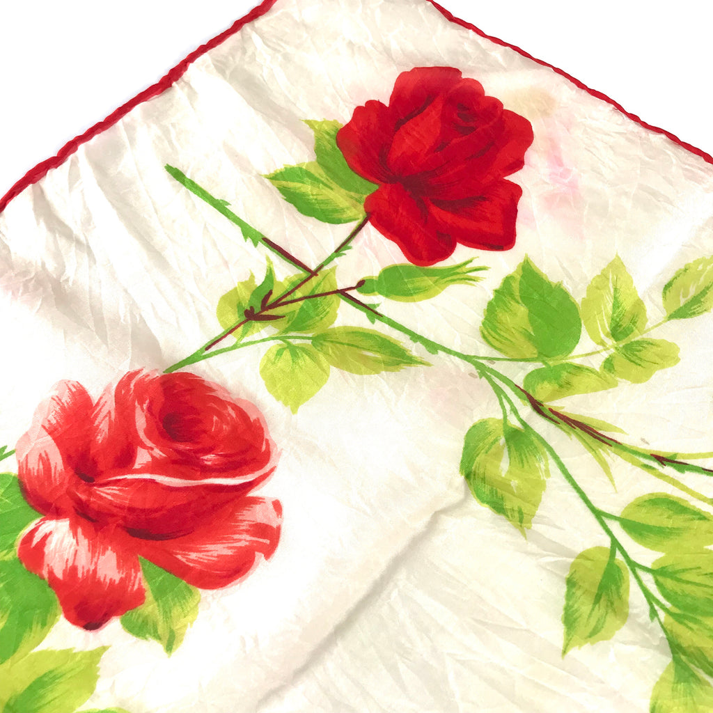 Vintage Red Rose Silk Scarf