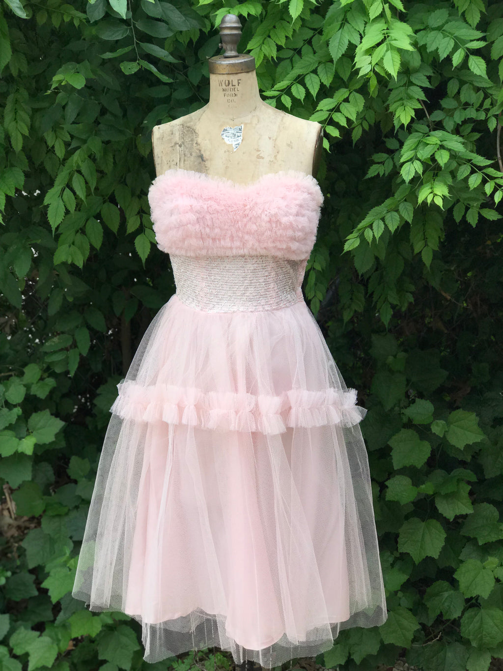 1950s Powder Pink + Silver Tulle Prom Dress