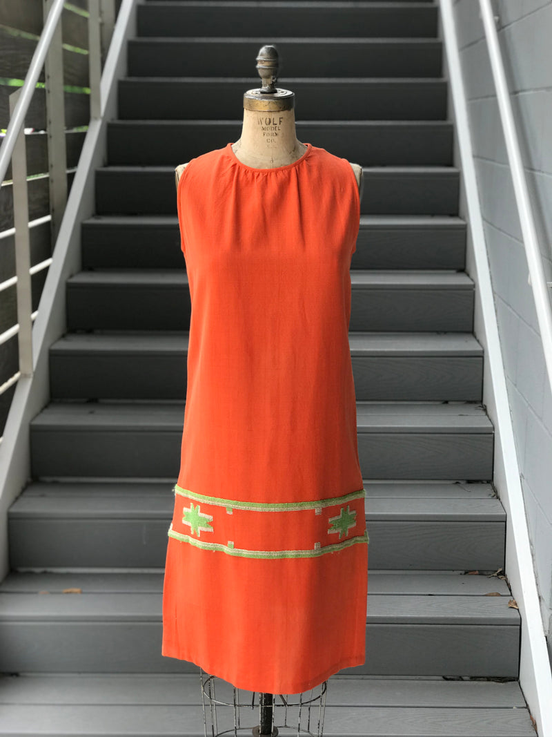 1960s Orange Linen Greek Shift Dress