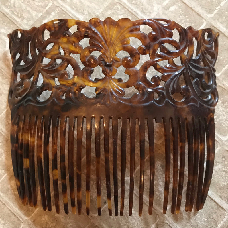 1920s Floral Carved *Vegan* Tortoise Shell Crown Hair Comb