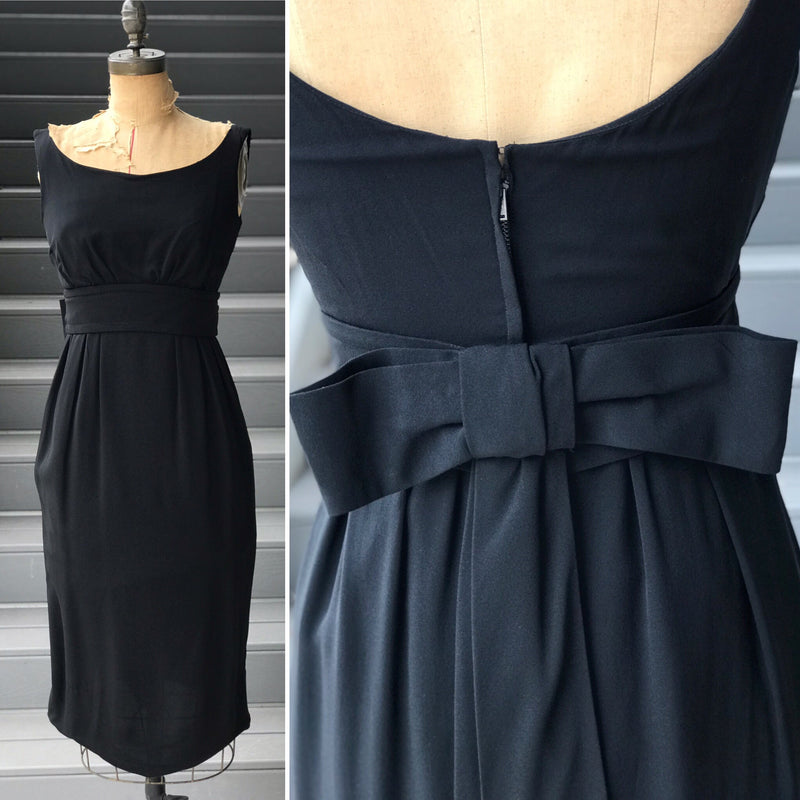"1950s DESIGNER ""Lord & Taylor"" Black Bow Back Crepe Dress"
