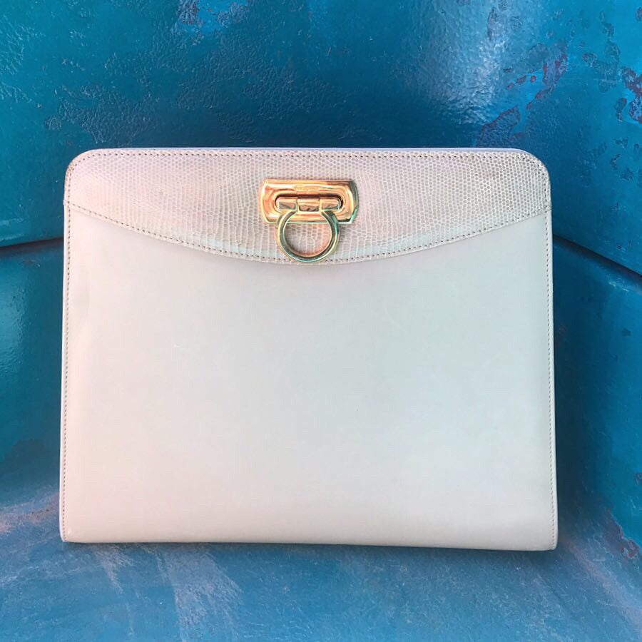 DESIGNER 1980s Ferragamo Structured Leather Handbag