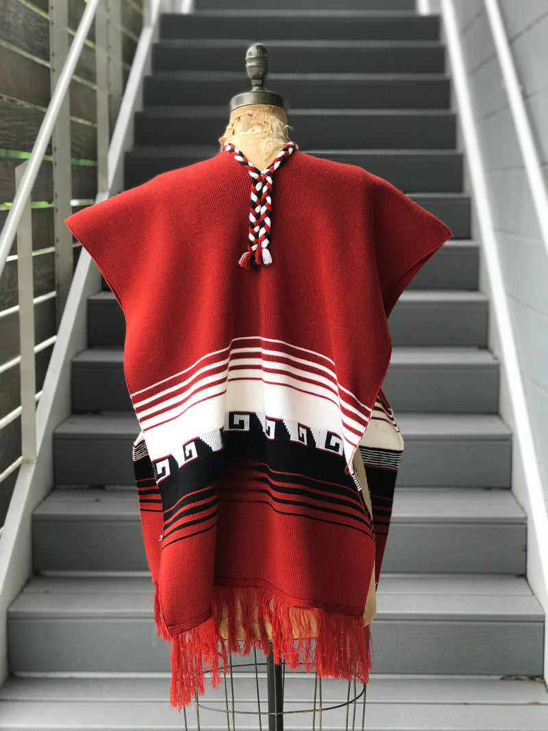 1970s Brick Red + Tribal Poncho