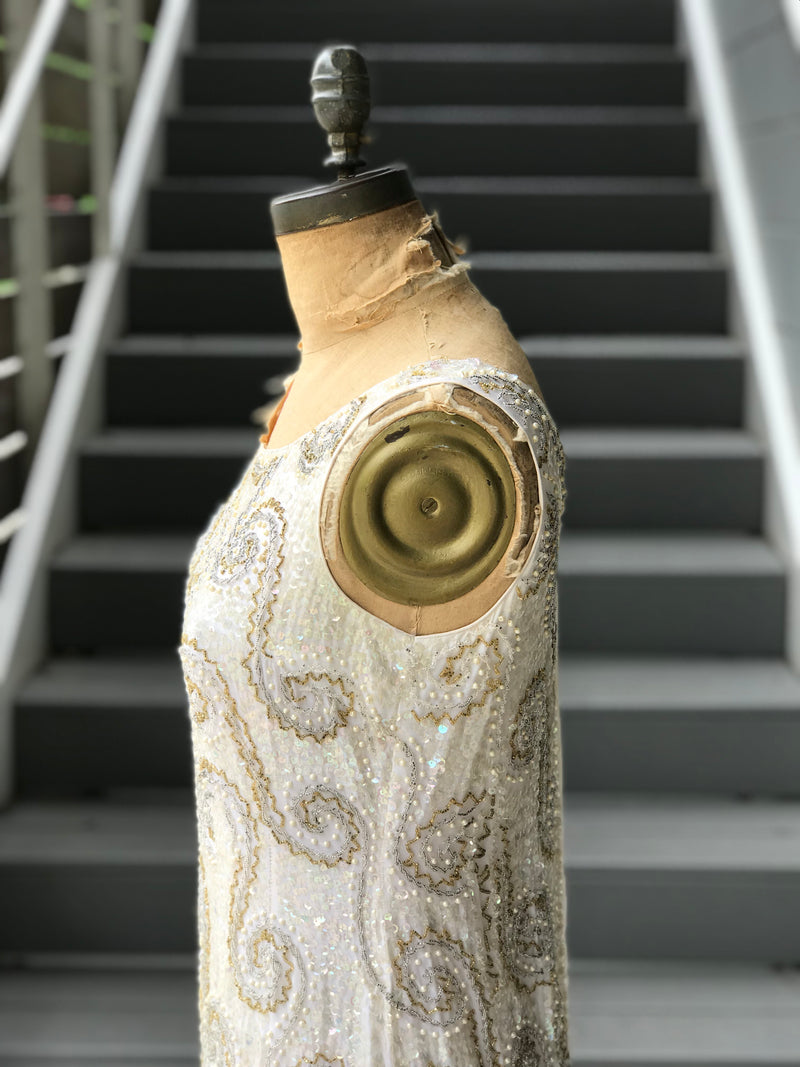 1960s Fully Beaded Metallic Swirl + Sequin Gown