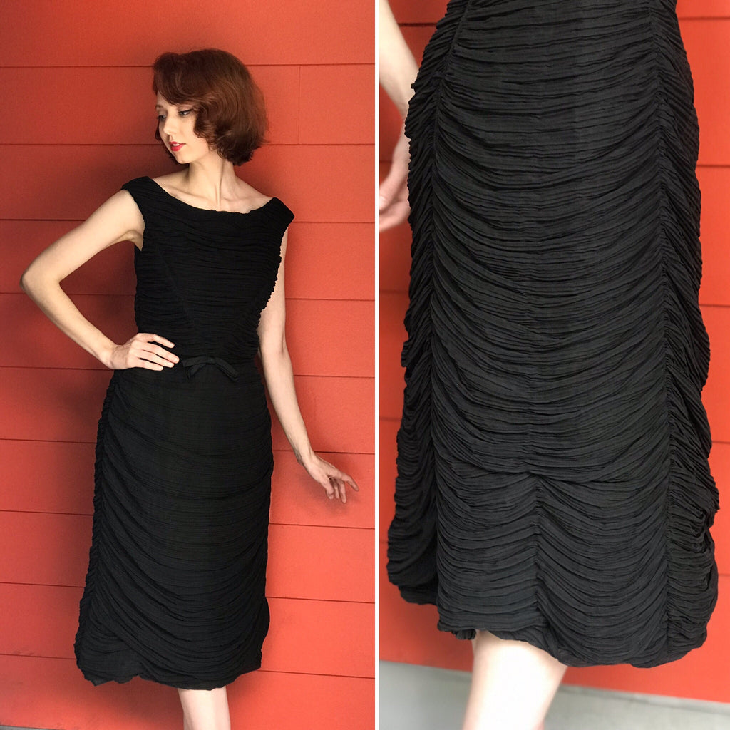"DESIGNER 1950s ""Rudolf"" Original Ruched Cocktail Dress"