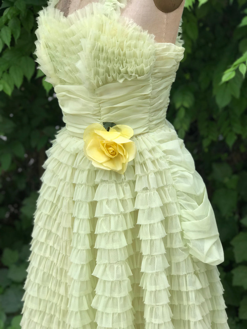 1950s Lime Tulle Tiered Ruffle Prom Dress