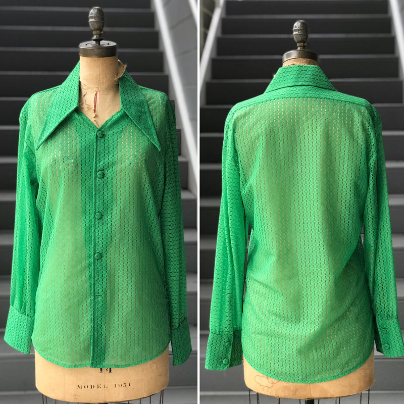 1970s Kelly Green Eyelet Collar Blouse