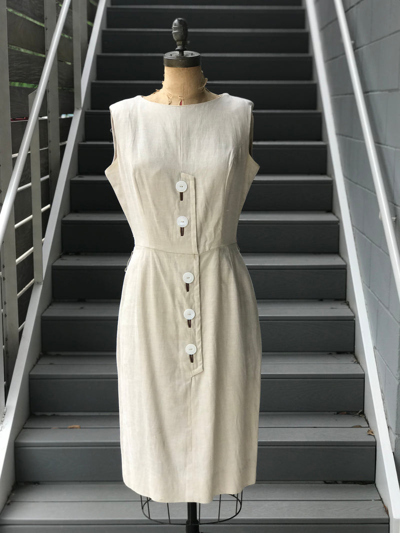 1960s Tan Irish Linen Button Front Dress