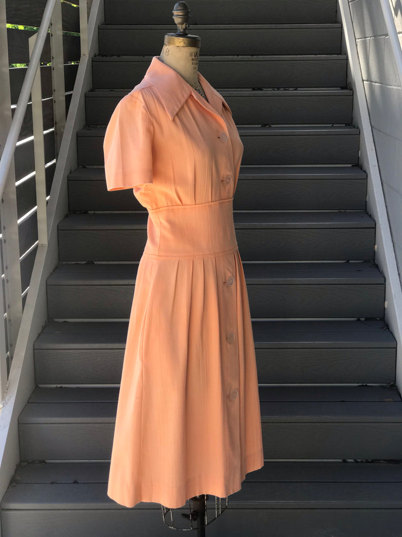 1970s Peach Button Front Day Dress