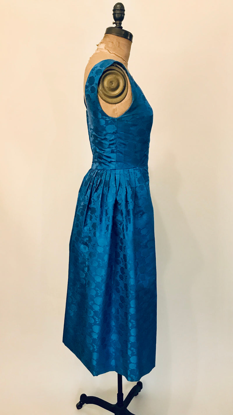 1950s Phthalo Blue Rose Formal Dress + Belt