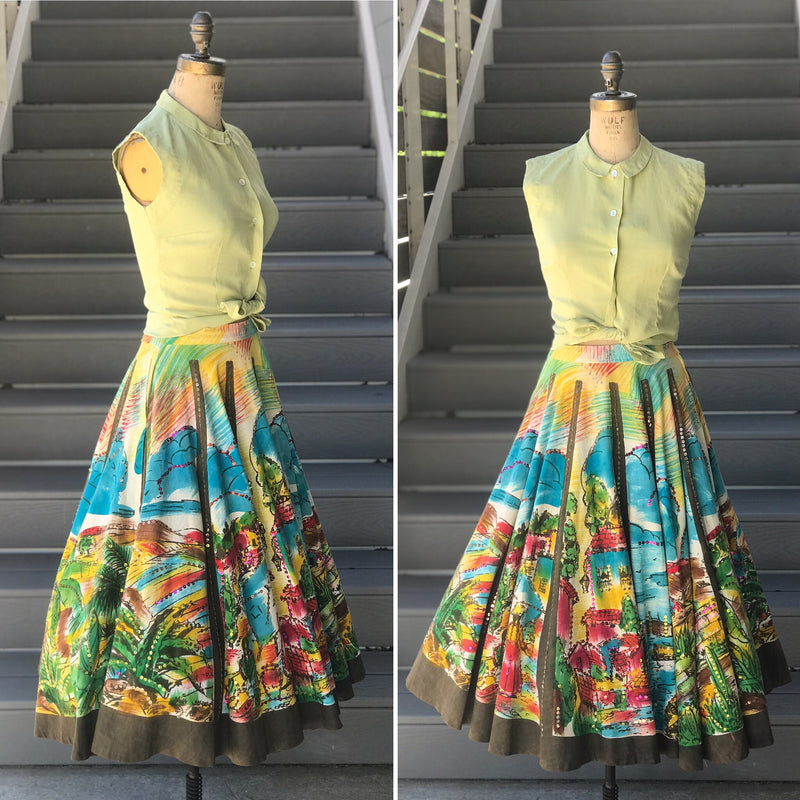 1940s Hand Painted Mexican Circle Skirt