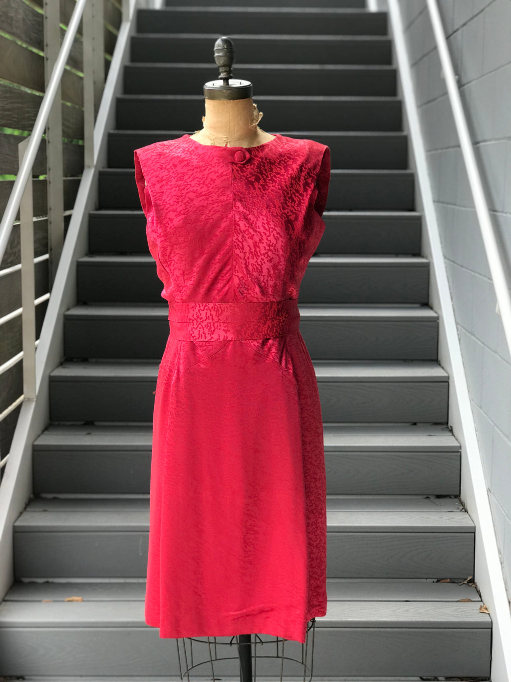 1950s Rasberry Jacquard Formal Dress + Belt