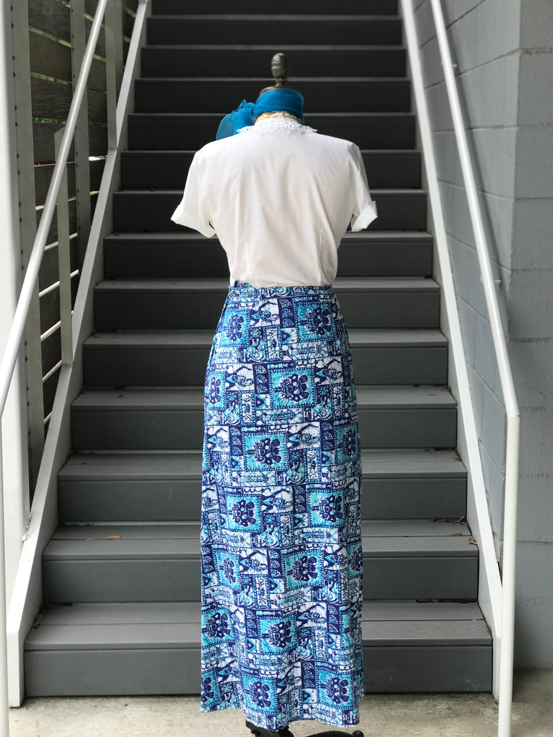 1970s Blue Hawaiian Tribal Maxi Skirt