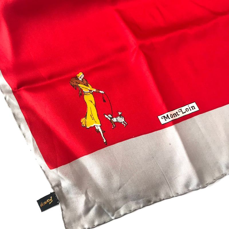 Red and Gray Mont Loin Silk Scarf with Woman Walking Poodle