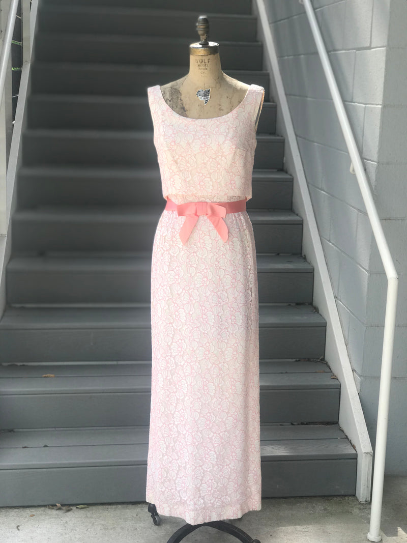 1960s White + Pink Lace Formal Maxi Gown