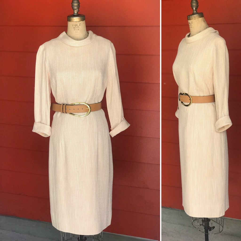 1950s Tan + Cream Seersucker Shift Dress