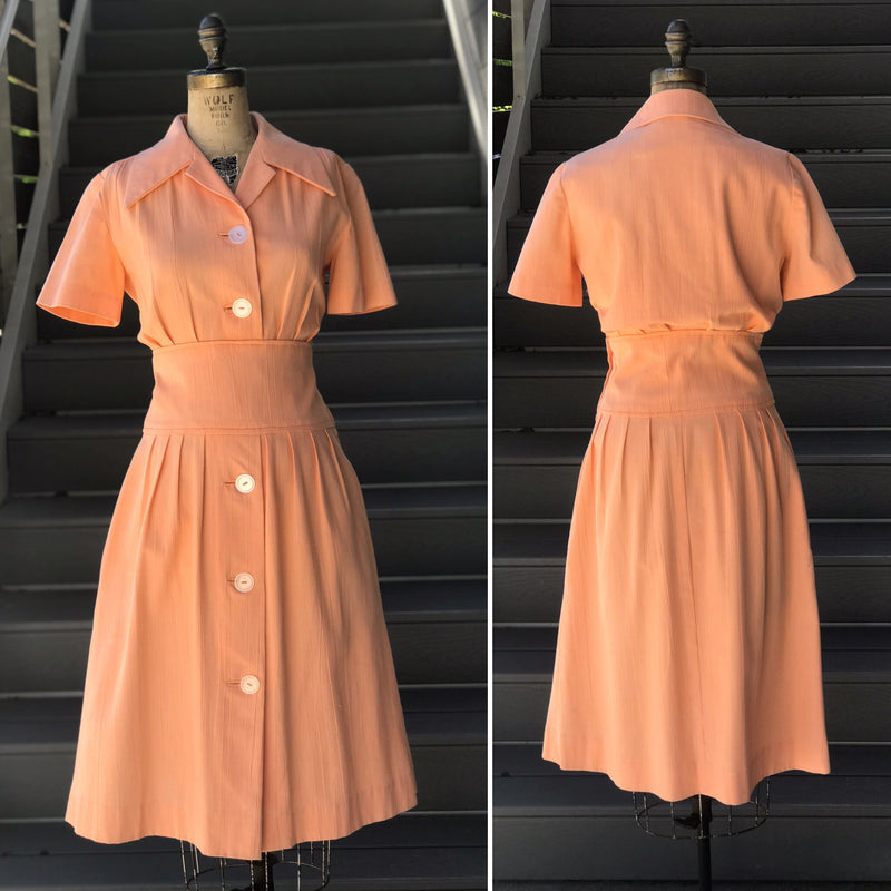 1930s Peach + Salmon Pink Changing Robe