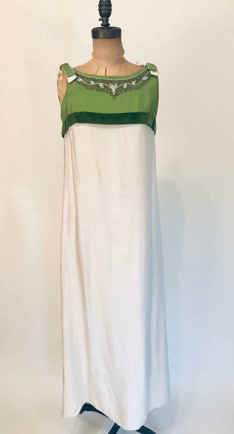 1970s Cream + Green Linen Beaded Collar Gown
