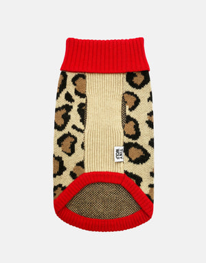 Red Leopard Print Dog Jumper