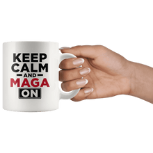 Load image into Gallery viewer, Keep Calm and MAGA On - Red Text Trump Mug - Trump Mug