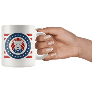 Trump MAGA Lion - USA Patriotic Red, White, Blue Mug - Trump Mug
