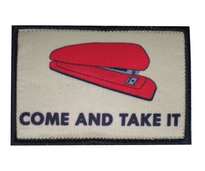 Red Stapler Come and Take It Office Tactical Morale Hook & Loop Patch - Trump Mug
