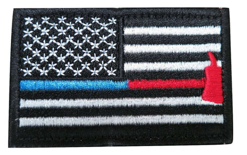 Thin Blue Red Line Axe USA Flag Patch Tactical American Police Law Enforcement Firefighter Emergency Rescue Hook & Loop Patch - Trump Mug
