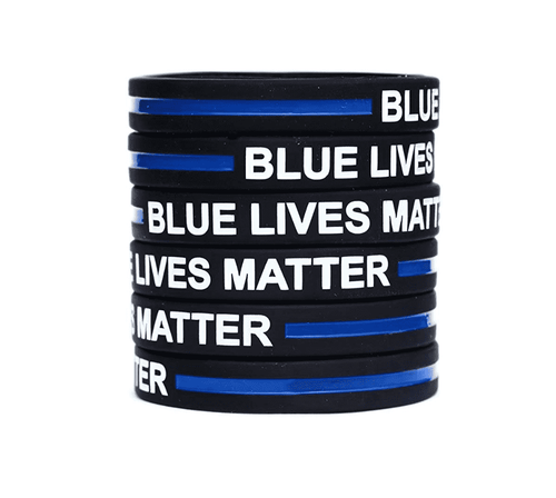 10 Blue Lives Matter Thin Blue Line Silicone Wrist Band Bracelet Wristbands - Support Police and Law Enforcement - Trump Mug