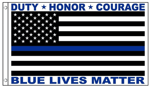 Blue Lives Matter USA American Flag Thin Blue Line for Police Law Enforcement 3x5 Feet Banner Flag - Trump Mug