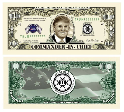 Donald Trump Kek Kekistan MAGA Pepe Frog Million Dollar Bill - Novelty Funny Money Bill with Currency Holder - Trump Mug