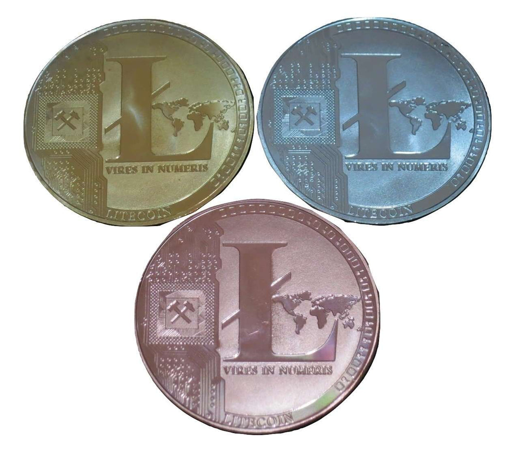 Set of Gold, Silver, and Copper Plated Color Litecoins LTC Physical Cryptocurrency Collectible Coins - Trump Mug
