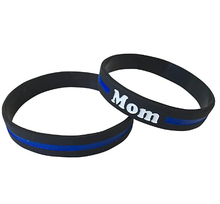 Load image into Gallery viewer, Mom (Mother) Thin Blue Line Silicone Wrist Band Bracelet Wristband - Support Police and Law Enforcement