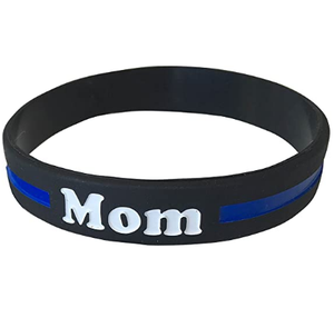 Mom (Mother) Thin Blue Line Silicone Wrist Band Bracelet Wristband - Support Police and Law Enforcement