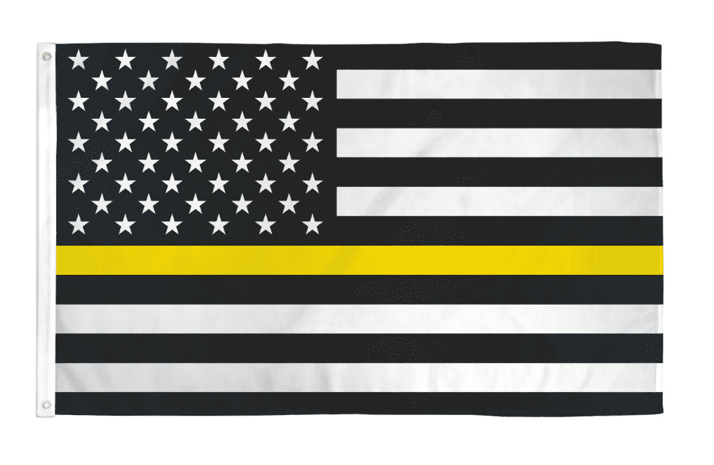 Thin Yellow Line Gold Emergency Dispatchers Truck Tow Drivers Recovery Public Safety Security Guards Loss Prevention 3x5 Feet Banner Flag - Trump Mug