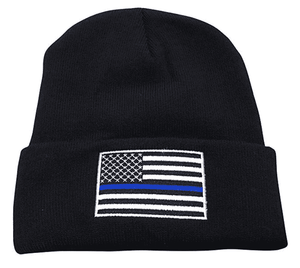 Thin Blue Line USA Flag Knit Skull Cap Hat Beanie Support Police Law Enforcement - Trump Mug