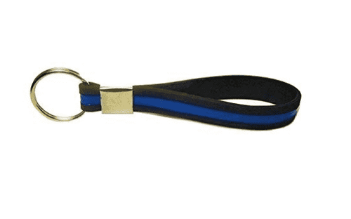 Thin Blue Line Key Ring Chain Silicone Keychain - Support Police Law Enforcement - Trump Mug