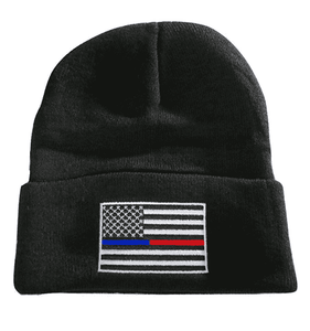 Thin Blue Red Line USA Flag Knit Skull Cap Hat Beanie Support Police Firefighter - Trump Mug