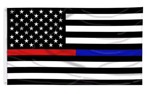 Thin Blue and Red Line USA American Flag for Police Law Enforcement Firefighters Emergency Rescue EMT EMS Paramedics 3x5 Feet Banner Flag - Trump Mug