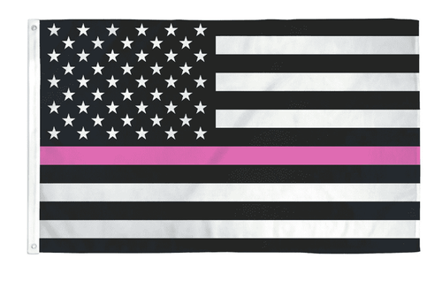 Thin Pink Line USA American Flag Breast Cancer Awareness Support Women 3x5 Feet Banner Flag - Trump Mug