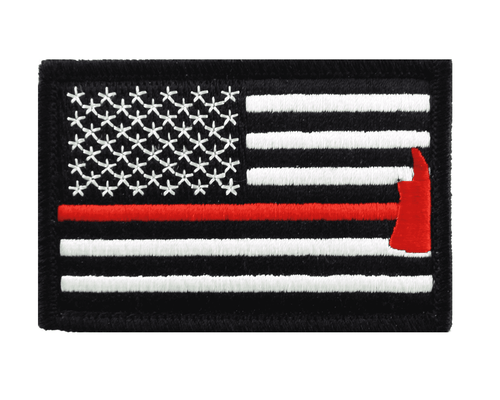 Thin Red Line Axe USA Flag Patch Tactical American Firefighter Emergency Rescue Hook & Loop Patch - Trump Mug