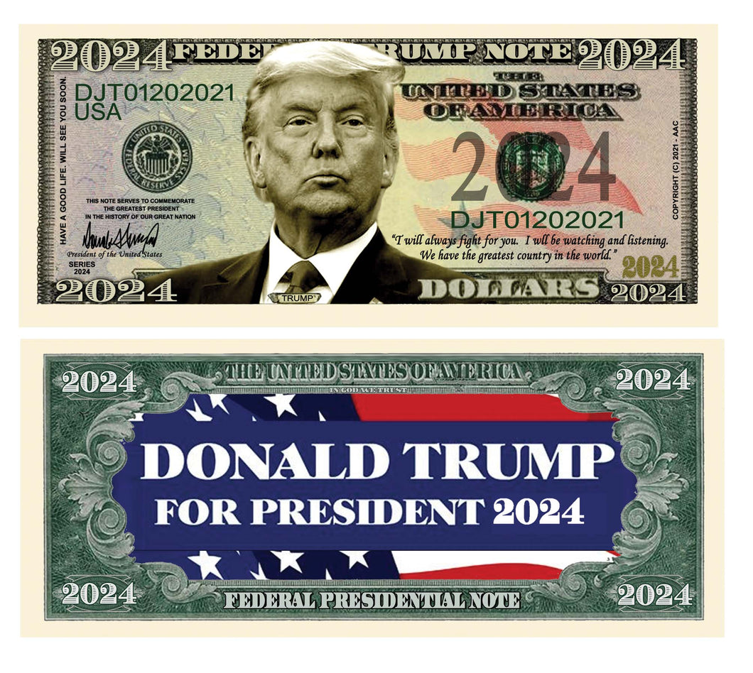 Donald Trump 2024 President Dollar Bill with Currency Holder