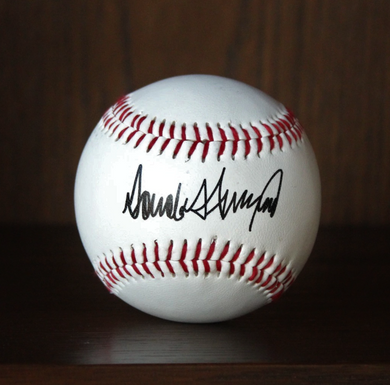 Donald Trump Facsimile Signature Autograph Signed Baseball with Holder
