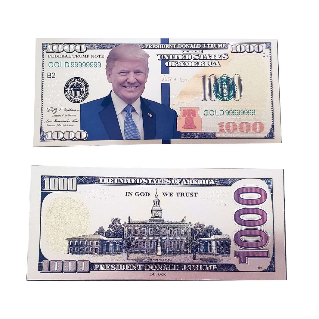 Gold Foil Donald Trump Presidential $1000 Dollar Bill with Currency Holder - Trump Mug