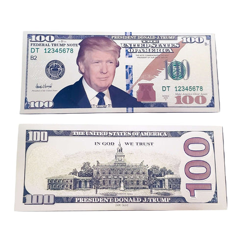 Pack of 25 Gold Foil Donald Trump Presidential $100 Dollar Bills with Currency Holder