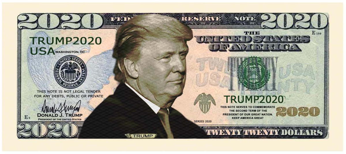 American Express Usa >> Donald Trump 2020 Presidential Dollar Bill with Currency ...
